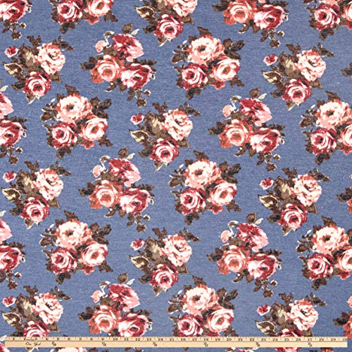 - Fabric California Stretch French Terry Rose Bouquet Fabric, Denim/Mauve, Fabric By The Yard