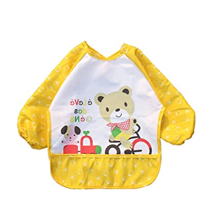 Befaith Unisex Infant Toddler Bebé impermeable Sleeved Bib Pocket animales patrón