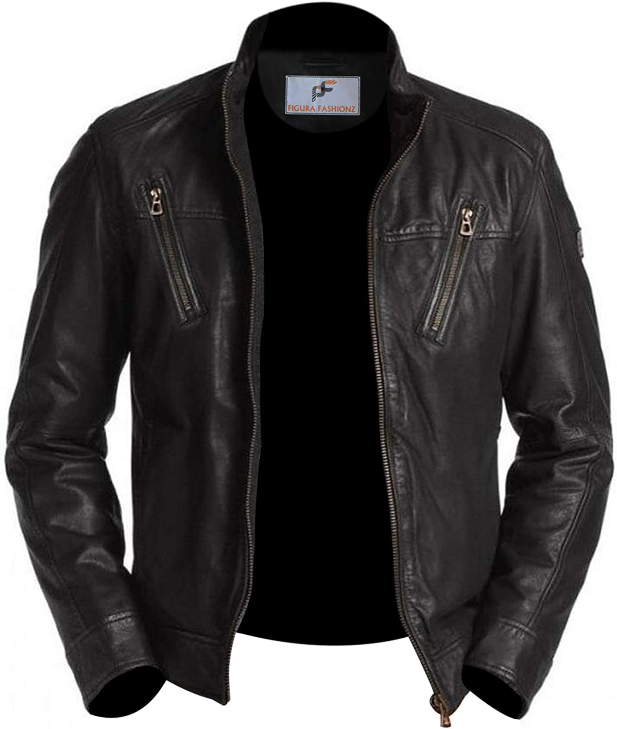 Figura Fashionz Fabulous Quilted Designer Black Lambskin Leather Biker Moto Jacket for Men