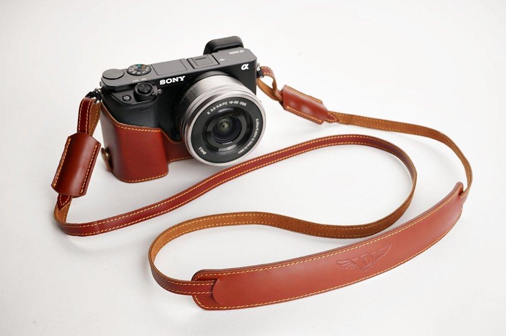SONY ソニー α6000用本革カメラケース(電池,SDカード交換可) ブラック、ブラウン (カメラケース&ストラップLK09&バッテリーケース, ブラウン) B01MQ28N7W ブラウン カメラケース&ストラップLK09&バッテリーケース