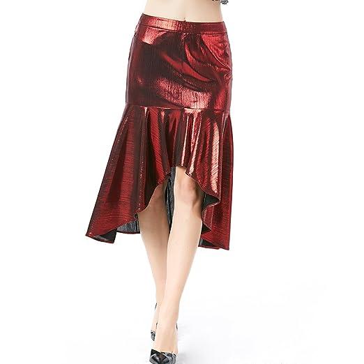 YAN Vestido de Mujer Falda de Las Mujeres Falda Irregular bañada ...