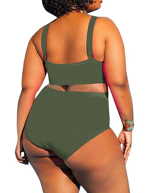 3f0a910f12f YONYWA Womens One Piece High Waist Plus Size Swimsuits Sexy Tummy Control  Bandage Swimwear at Amazon Women s Clothing store
