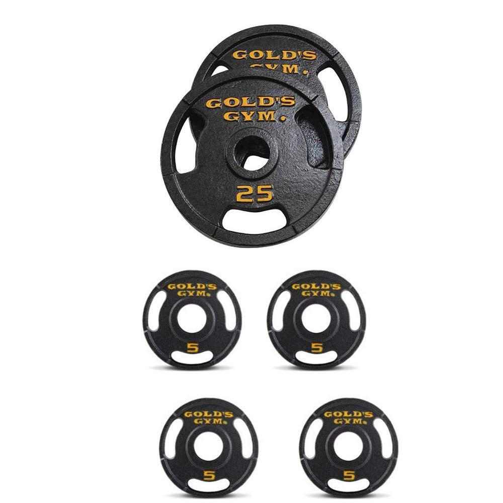 Golds Gym Olympic Plate Set with Grip Plate Design Make Working Out Safer and More Productive (140 lb)