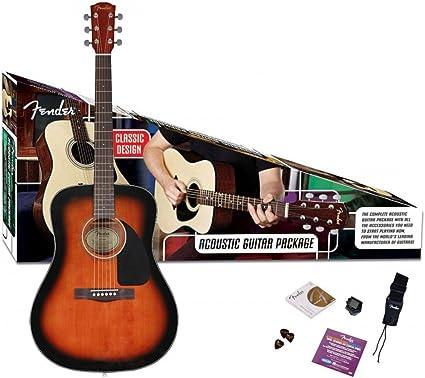 Fender CD60 Kit de guitarra acústica - Sunburst: Amazon.es ...
