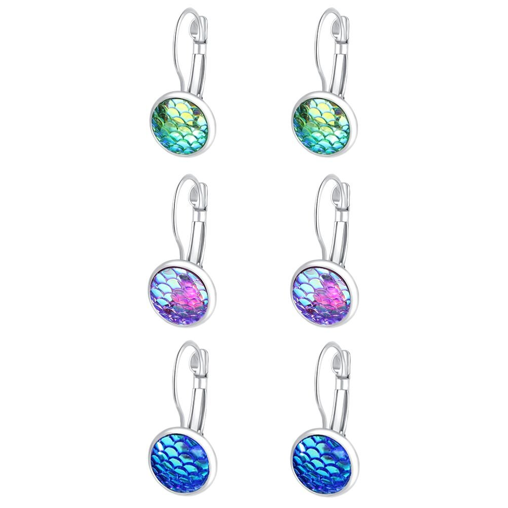 Trio Mermaid Dragon Fish Scale Silver Tone Lever Back Earrings Mixed Iridescent Blue Green Best Friends (Style 5)