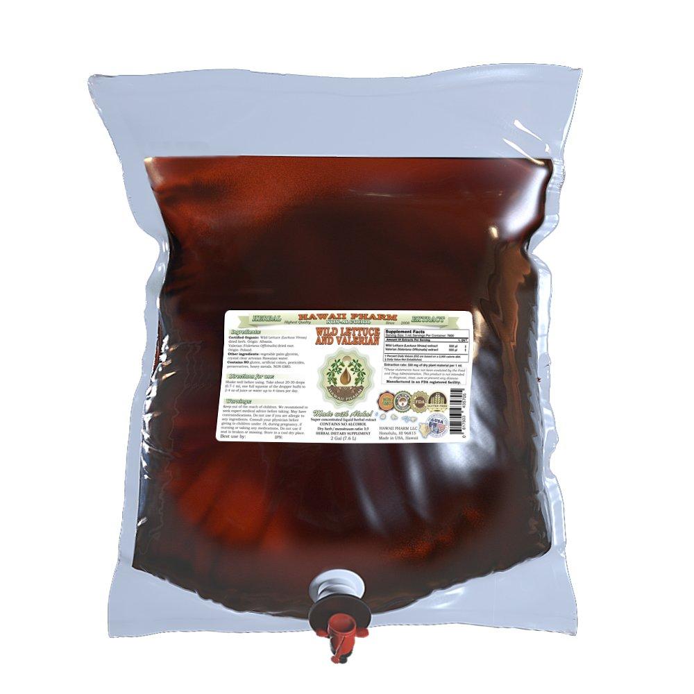2-in-1! Wild Lettuce & Valerian Glycerite, ORGANIC Wild Lettuce (Lactuca Virosa) & Valerian (Valeriana officinalis) ALCOHOL-FREE Liquid Extract, Hawaii Pharm trusted brand, 2 Gal