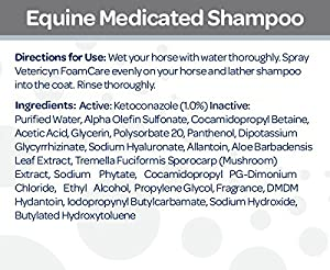 Vetericyn FoamCare Medicated Horse Shampoo | Healing Relief Antifungal Equine Shampoo - Sulfate Free, Paraben Free - Cleans, Moisturizes, and Conditions Horse's Coat - Instant Foam Shampoo - 32-ounce