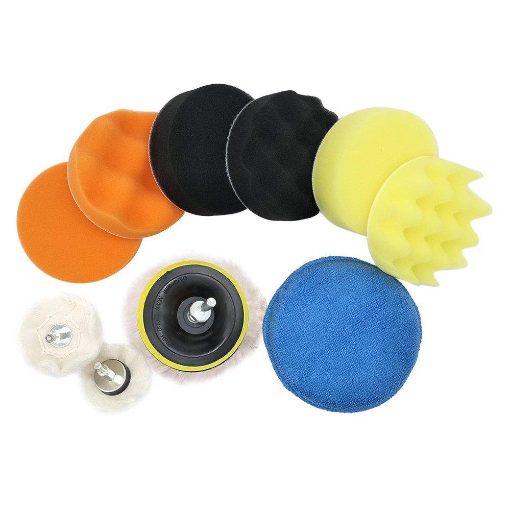 12Pcs É ponge de polissage Laine Polissage Cirage Kits Pads de Polissage Tampon de Polissage Roue Kit de polissage Auto Adaptateur sweetlife