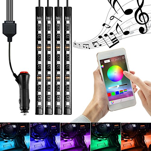Car Interior Lighting, InTeching 4x Car LED RGB Music Atmosphere Floor Underdash Light, APP Bluetooth Controller Strip Lights Kit