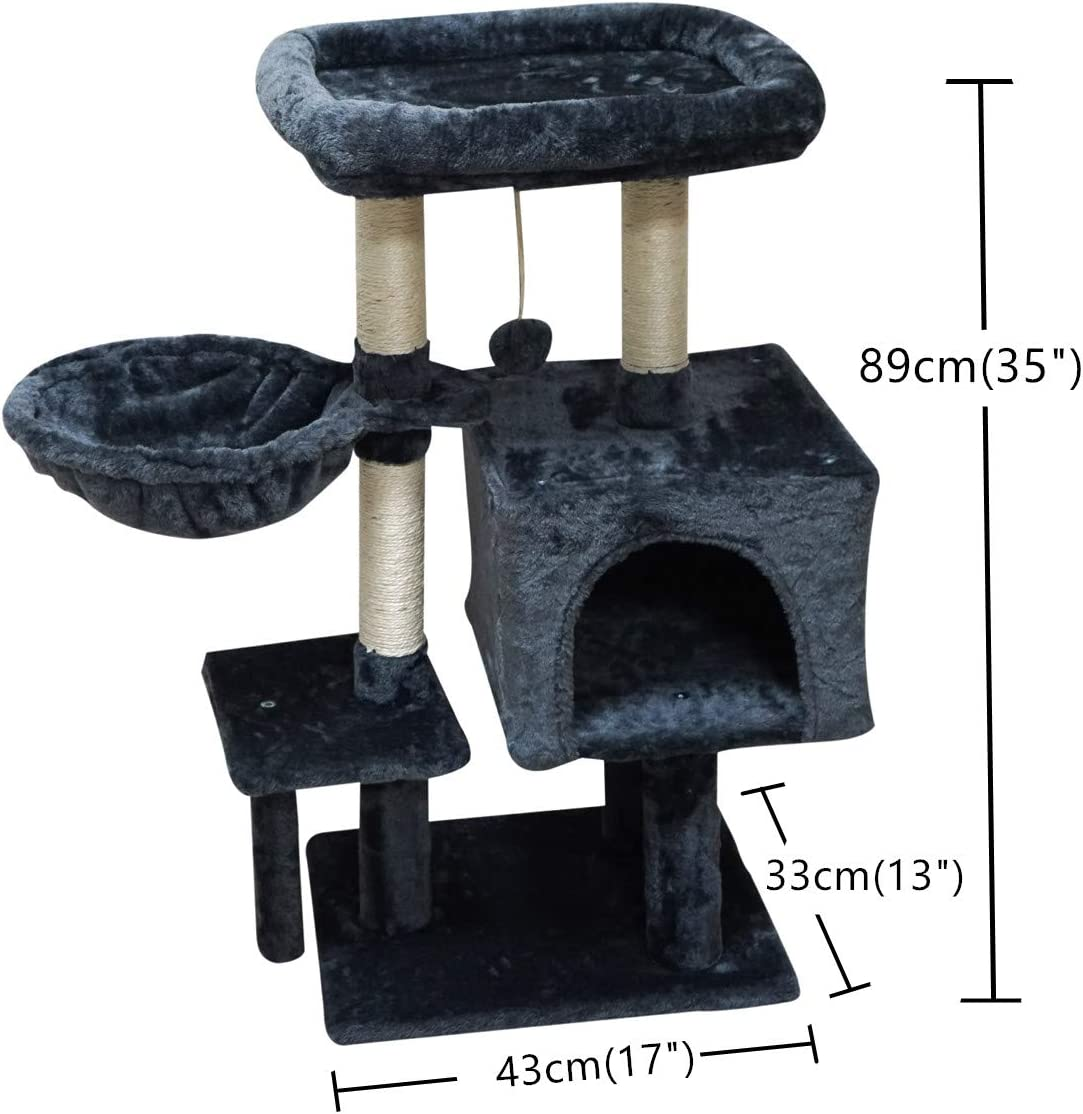FISH&NAP Cat Tree Cat Tower Cat Condo Sisal Scratching Posts with Jump Platform Cat Furniture Activity Center Play House Grey Smokygrey