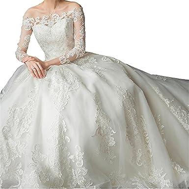 Tsbridal Cathedral Train Lace Wedding Dresses Long Sleeves Wedding ...