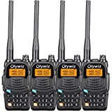 Olywiz UV6S Dual Band LCD Built-in Flashlight Two Way Radio 136-174MHz/406-470MHz 5W 128 Channels Walkie Talkie 4 PACK