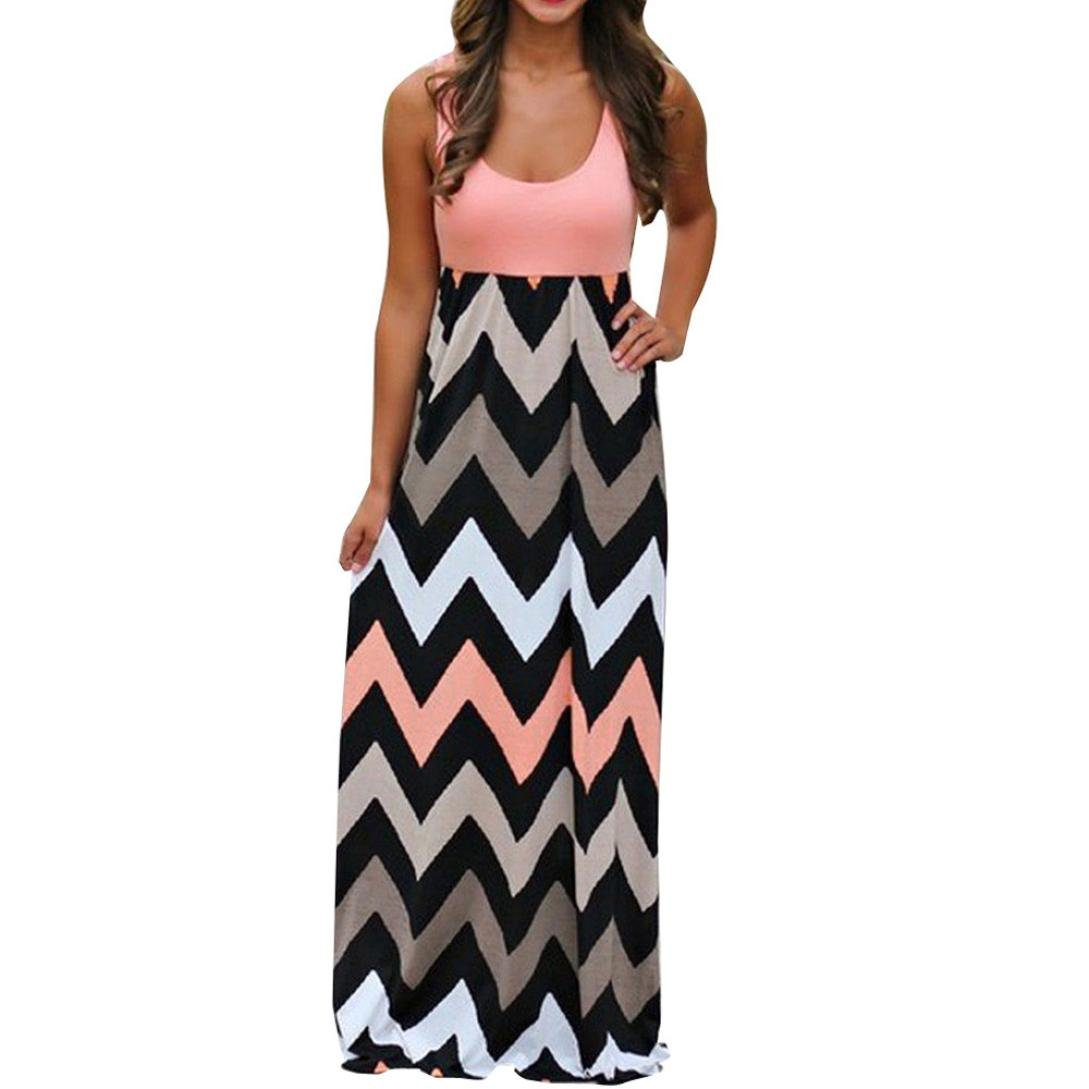 haoricu Women Dress, Womens Plus Size Striped Boho Beach Summer Sundrss Long Maxi Dress (XXL, Orange)