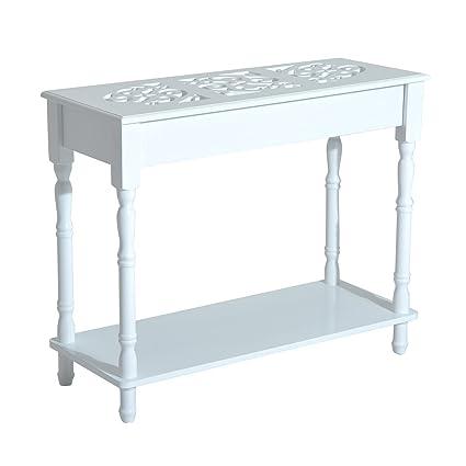 homcom Tavolino Consolle per Ingresso Moderno in Legno Bianco, 89 x 35.5 x  72cm