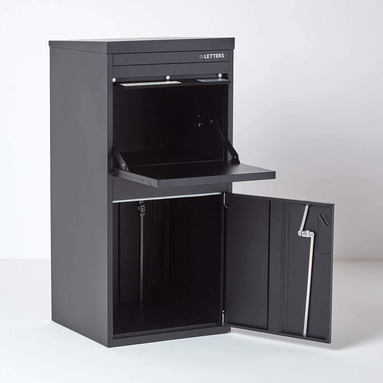 Entnahme Vorne /& Hinten Extra Gro/ß 43 x 54 x 102cm Smart Parcel Box Schwarzer Paketbriefkasten