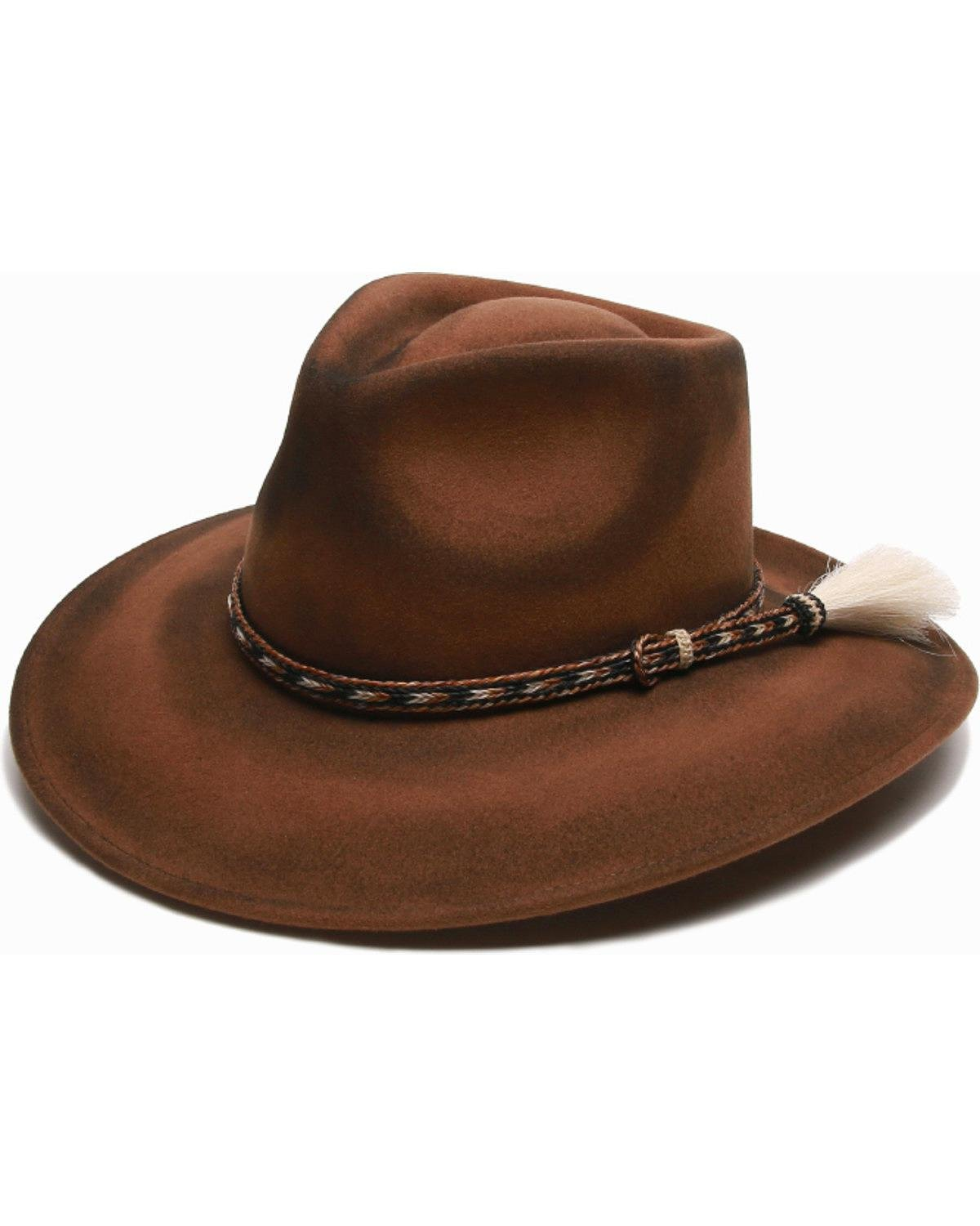 'ale by alessandra Women's Roxy dene Distressed Felt Hat With Horse Tail Trim, Brown, Adjustable Head Size