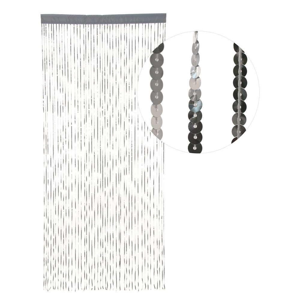 Hab & Gut -DV0131A- Door curtain SILVER SEQUINS, 35 x 79 inches -90x200 cm-