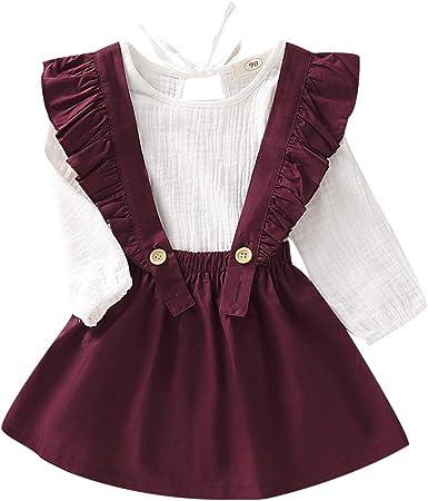 Borlai - Vestido de Moda para niñas de Manga Larga + Falda de ...