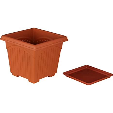 First Smart Deal 8 Inch Plastic Square Planter With Tray Pack of 10 - Brown