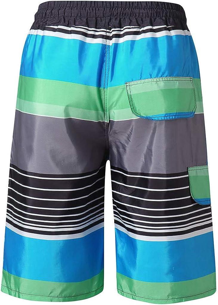 Kirbaez Mens Shorts Casual Loose-Fitting Show Line Elastic Waist Drawstring Sports Shorts Pants Beach Pants