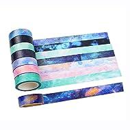 Washi Tape Set of 8 Rolls - Natural Galaxy Water color aurora Decorative DIY Japanese Masking Adhesive Sticky Paper Washi Tape Set ( width: 15mm)