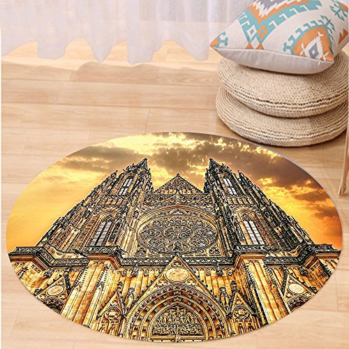 VROSELV Custom carpetGothic Decor Famous Cathedral European Church Catholic Gifts Sunset Tower Medieval Architecture Prague Picture Believe Art Christian Living Room Bedroom Dorm D Round 72 inches by VROSELV