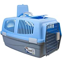 Large Pet Travel Carrier Dog Cat Rabbit Basket Plastic Handle Chrome Plated Hinged Door Transport Box Crate Cage