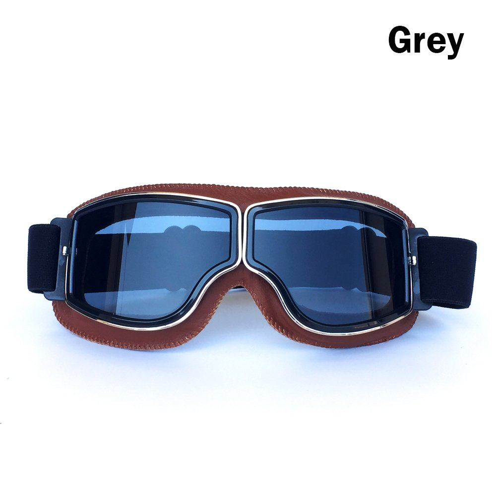 Yopria Vintage Goggles Sports Sunglasses Helmet Steampunk Eyewear for Outdoor Motocross Racer Motorcycle Aviator Pilot Style Cruiser Scooter Goggles Retro Brown Frame Brown Lens