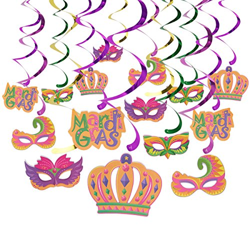 30-Count Swirl Decorations - Mardi Gras Party Supplies, Carnaval-Themed Hanging Ceiling Whirl Streamers, 5 Cutout Designs, 4 Colors - Hanging Length: 36 Inches ()