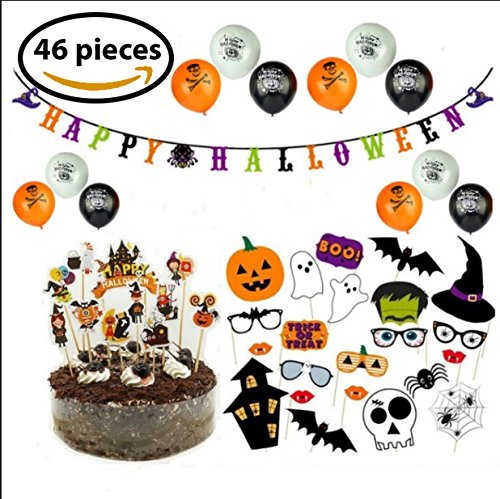 BELA SEASONAL PRODUCTS Halloween Decorations Party Kit (46-Piece Set) Banner, Cake Toppers, Balloons, and Photo Booth Props | Cute, Spooky Scary Décor for Kids, Adults -