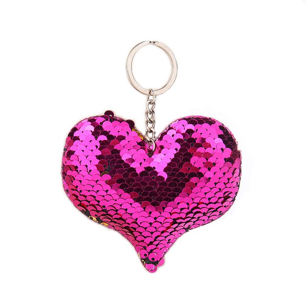Meoliny Heart Shaped Keychains Reversible Sequin Flip Color Change Keychain Shine Car Keyring for Girls,Rose Red