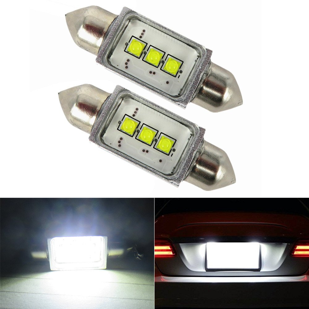 WLJH 2pcs 36mm C5W Canbus No Error LED Bulbs 9W 300LM High Power Bright 3-SMD 6411 6418 Festoon Xenon White Car Light Bulbs Interior Lamp License Plate Light For Audi BMW Volkswagen Mercedes