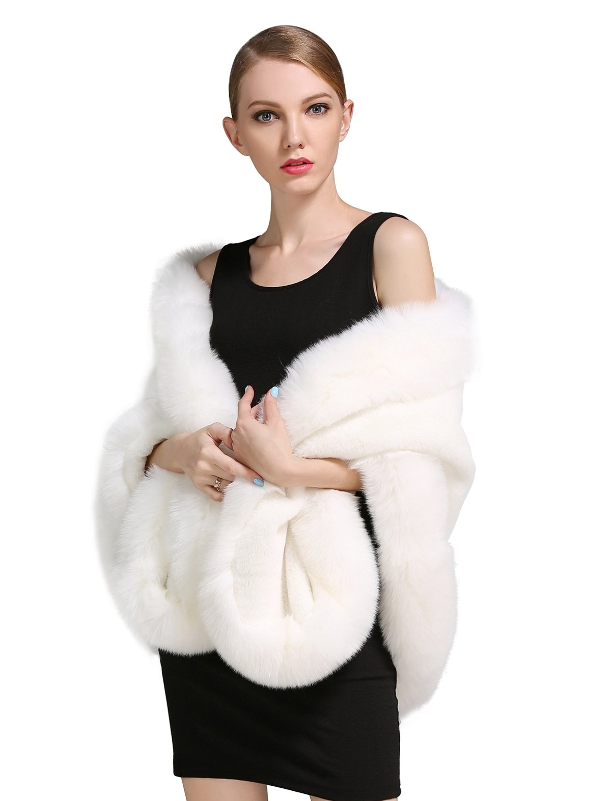 BEAUTELICATE Women's Faux Fur Shawl Wrap Stoles for Bridal Wedding Dresses-S64 Ivory by BEAUTELICATE