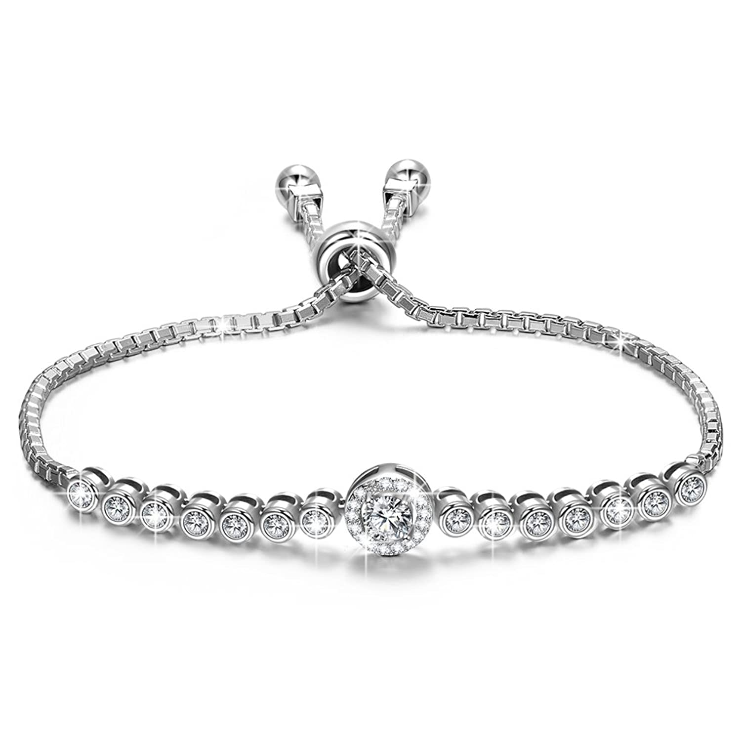 "♥Mothers Day Gifts♥ NINASUN ""The Little Mermaid"" Adjustable 6"" - 9"" 925 Sterling Silver AAAA CZ Chain Bracelet Fine Jewelry for Women"