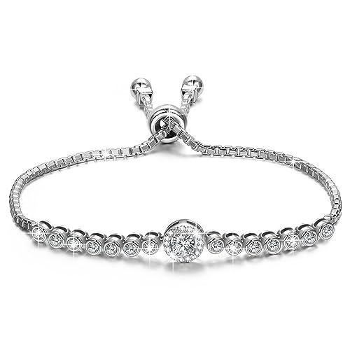 b2eec8fb272cd NINASUN The Little Mermaid Sterling Silver Bracelet Women Adjustable Chain  Bracelet with Sparkling AAAAA Cubic Zirconia Allergy for Her Hypoallergenic  ...