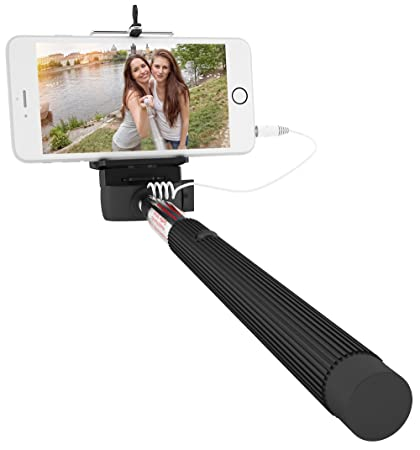 c2d813d71cd244 Wired Selfie Stick for iPhone 6, 6 plus, 5 5s 5c, Galaxy s6 edge s5 s4,  Android Smartphone - Extendable Cable (Monopod) w/ Universal Cell Phone  Mount - No ...