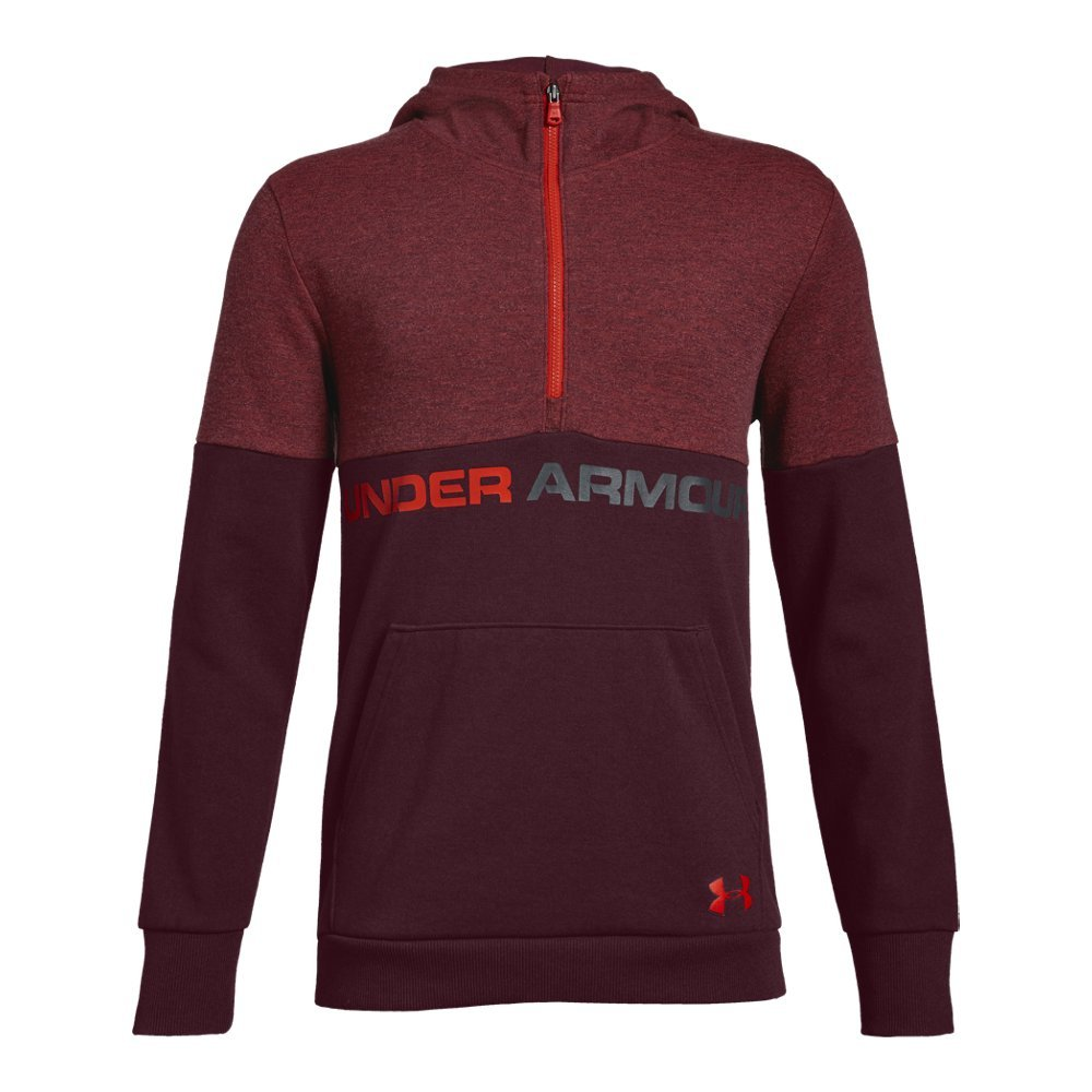 Under Armour Boys Double Knit 1/2 Zip Hoodie, Dark Maroon (600)/Radio Red, Youth X-Small by Under Armour