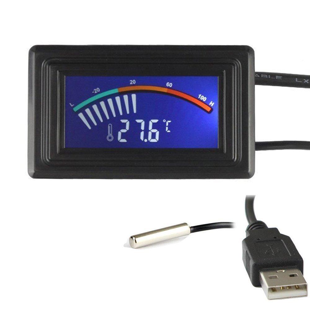 Keynice Thermomètre digital capteur de température avec branchement USB Degrés Farenheit et Degrés Celsius écran LCD couleur KN-135-USB