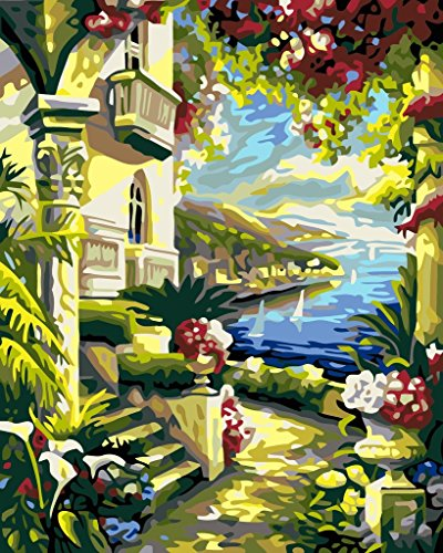 YEESAM ART DIY Paint by Numbers for Adults Beginner Kids, Seaside Flowers Castle 16x20 inch Linen Canvas Acrylic Stress Less Number Painting Gifts (Castle, Without Frame)
