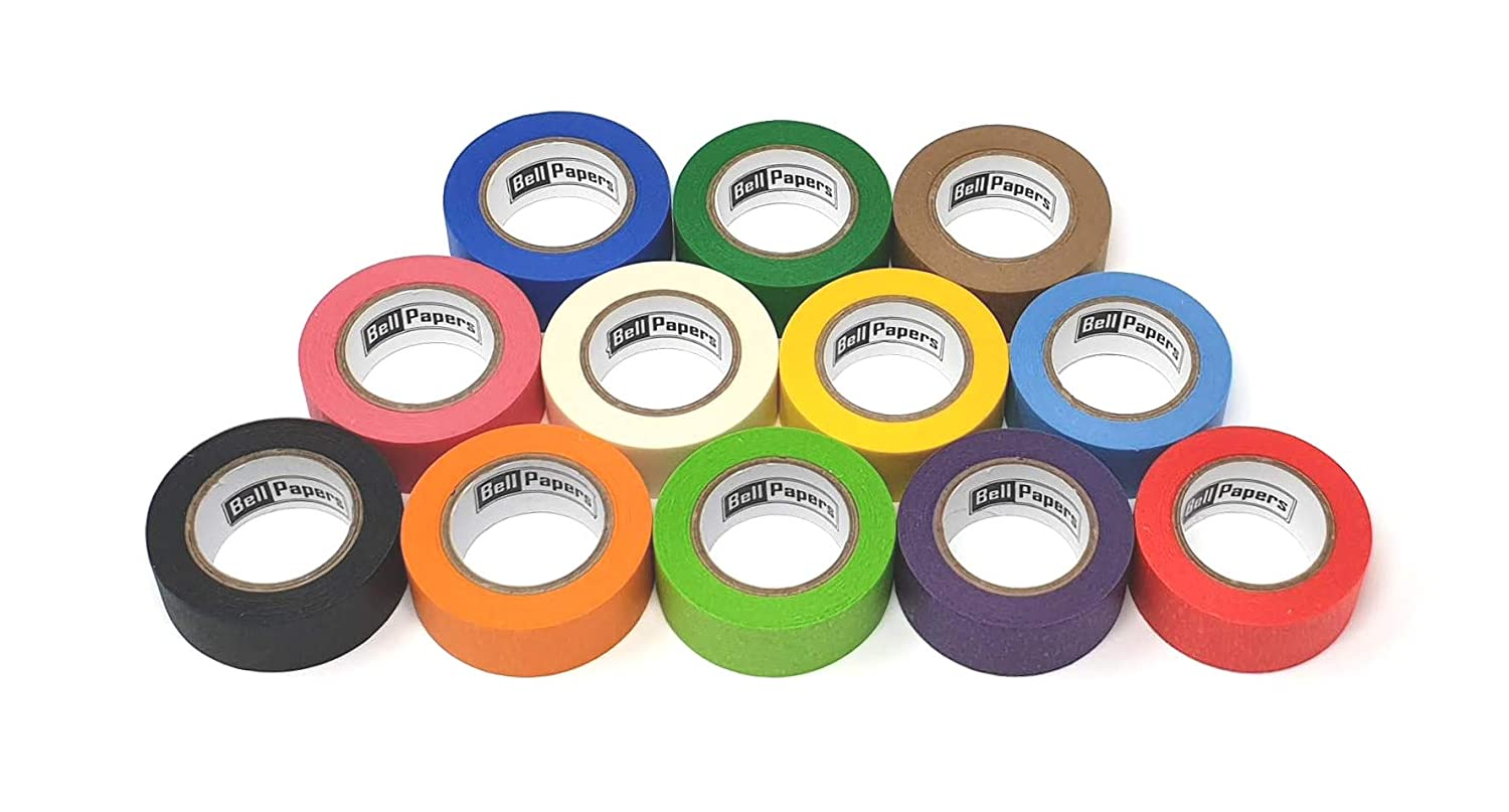 Colored Masking Tapes Vibrant Assorted Colors Moving Labelling Tapes|Multi Colored DIY Fun Rolls Pack of 12 Tapes | Each Tape is 1 inch Wide X 15 Yards Long Kids Decorative Tapes for Crafting
