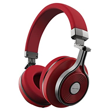 Bluedio T3 Extra Bass Bluetooth Headphones On Ear with Mic, 57mm Driver Folding Wireless Headset, Wired and Wireless Headphones for Cell Phone/TV/ PC Gift (Red)