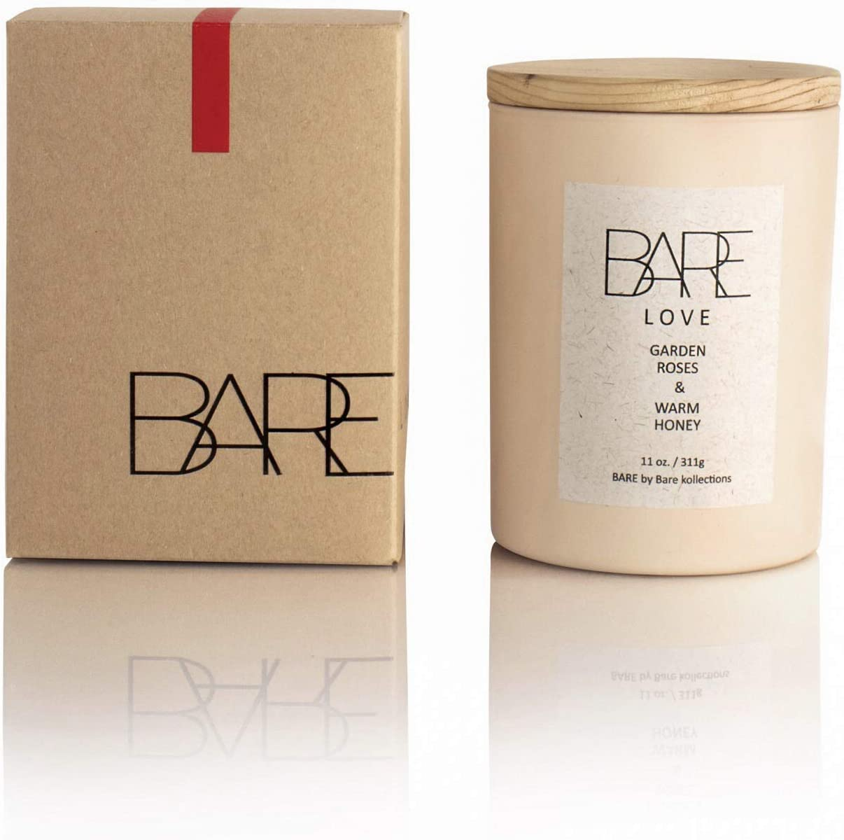 Bare Kollections Love Candle Roses 11 Ounces - Natural Coconut Soy Candle - Long Burn Time - Hand Poured - Made in USA-Aromatherapy Candle