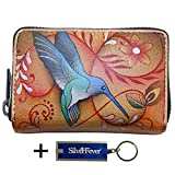 Anuschka Leather Credit Business Card Holder, Handpainted , With Key Foab, Gift Boxed (Flying Jewels Tan)
