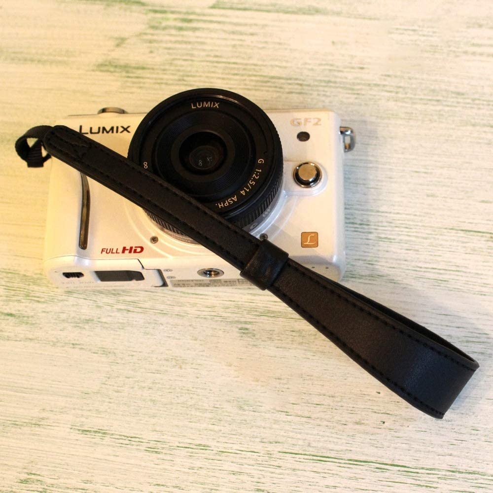 DSLR Digital Mirrorless Camera Safety Tether Black Adjustable Premium Hand Strap Wristlet for Leica Sony Nikon Fuji Pentax Canon Panasonic Leather Camera Wrist Strap