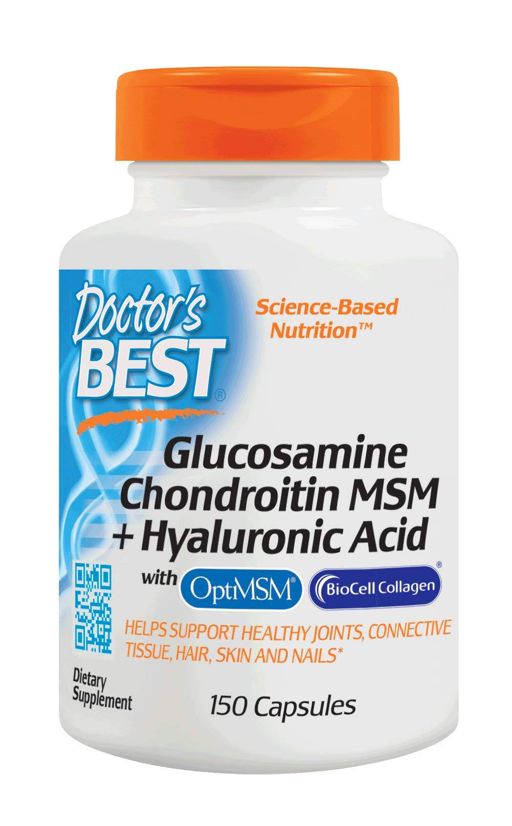 Doctor's Best Glucosamine Chondroitin MSM + Hyaluronic Acid with OptiMSM & BioCell Collagen, Joint Support, Non-GMO, Gluten Free, Soy Free, 150 Caps by Doctor's Best (Image #1)