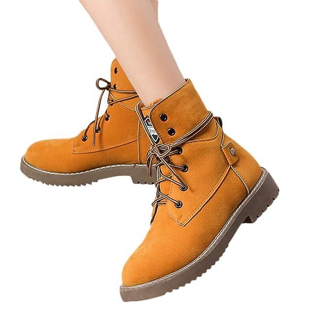 30d13cc0627e TianWlio Boots Stiefel Schuhe Stiefeletten Frauen Herbst Winter Mode Flache  Unterseite Warme Schuhe Stiefel Student Beiläufig Schuhe Weihnachten  Amazon .de  ...