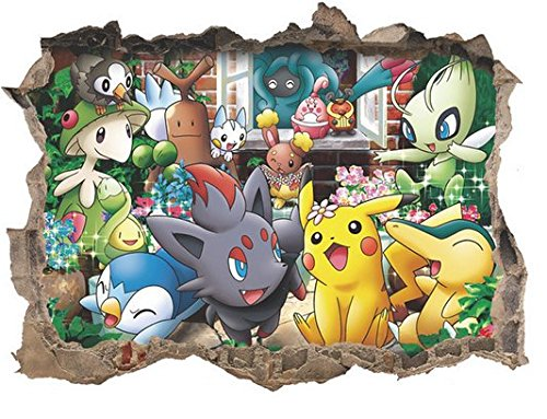 JIAHUI Nursery Decor Popular Characters Pokemon Pikachu Xy Peel and Stick Wall Decal For Children Room Decal 17x9.5 inch