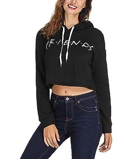 8a3af8d7d0a Tomteamell Womens Friends TV Show Short Hoodies Long Sleeve Graphic  Sweatshirt Top