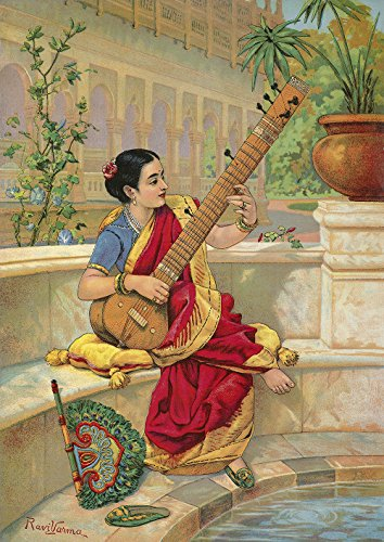 Indian Woman Playing Sitar by Ravi Varma