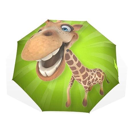 EZIOLY Fun Giraffe Cartoon Viaje Paraguas Ligero Anti UV Sun Rain ...
